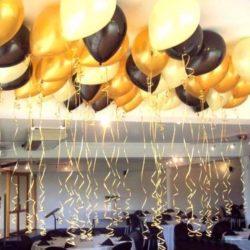 чёрные, белые и золотые воздушные шары