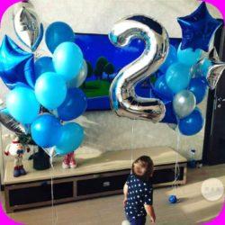 фонтаны и цифры из воздушных шаров на детский праздник